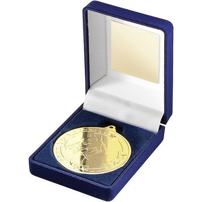 Blue Velvet Box And Medal Horse Trophy Gold 3.5in FREE Engraving