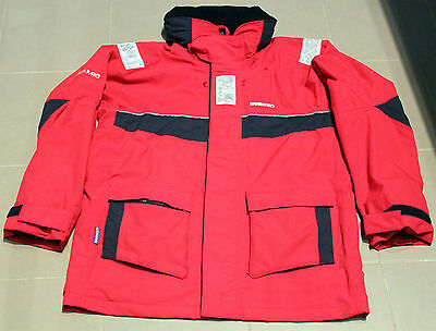 Burke Sailing Jacket Red Cb10 Breathable Material Size L 40 Safety Stripes Hood