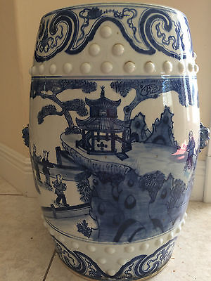 "Chinese Garden Stool Blue & White Porcelain 19 1/2"" Tall with ""ears"""