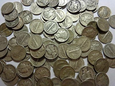 $10.70 Face Value In Unchecked Mercury Dimes As Purchased Postpaid!