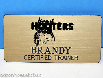 HOOTERS RESTAURANT OFFICIAL GIRL BRANDY GOLD NAME TAG (PIN) Certified Trainer