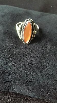 sterling silver native american hand tooled ring, size M