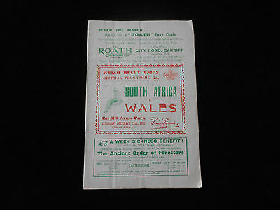 Wales V South Africa Rugby Union Programme Cardiff Arms Park 1951