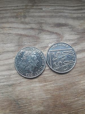 misprinted 10 pence coin