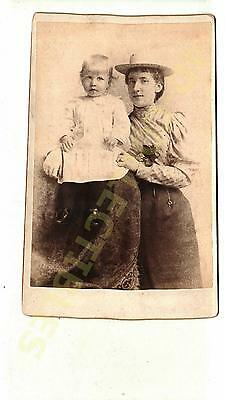 Original photo Cabinet Card Victorian Portrait Woman and Her Son