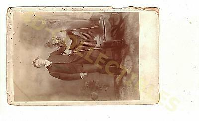 Original photo Cabinet Card Victorian Young Man Posing by Rocking Chair