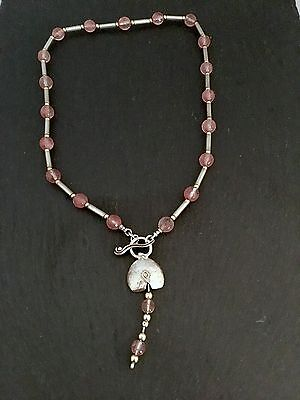 Unusual contemporary Sterling silver  pink & gold bead necklace