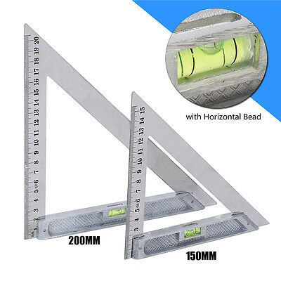 150mm 200mm Triangle Ruler Measuring Tool 90° Alloy with Level Bubble