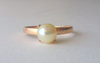 Vintage 1985 9ct Rose Gold Pearl Ring Size O