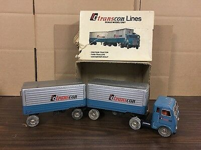 Vintage Japan Tin Litho TC Transcon Lines Friction Tractor Twin Double Trailers