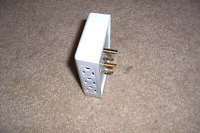 6 Outlet 3 Prong Side Entry Tap White Adapter Receptacle