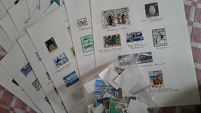 17 sheets hinged stamps JAPAN, 1980's 1990's, and bag of off paper , used.