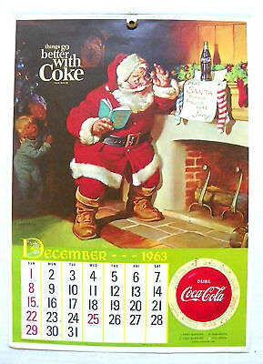 "1964 ""drink Coca-Cola ~ Things Go Better With Coke"" 13 Months Hanging Calendar"