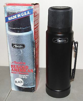 New!! Vtg Black ALADDIN STANLEY Quart THERMOS (Made in USA!) New Old Stock!!