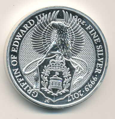 2017 UK QUEEN'S BEAST 2oz  999.9  SILVER BULLION 5 POUND COIN -GRIFFIN OF EDWARD