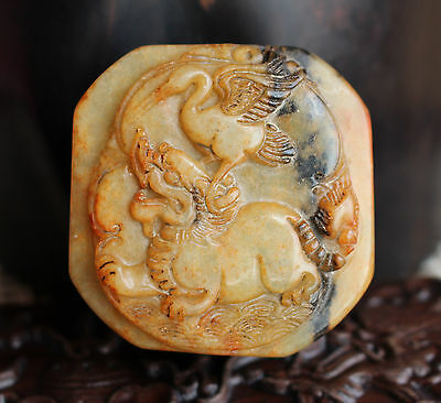 Chinese ancient old hard jade hand-carved pendant necklace~Crane Unicorn