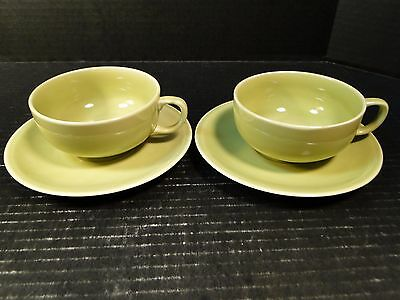 TWO Paden City Pottery Greenbriar Tea Cup Saucer Sets Green