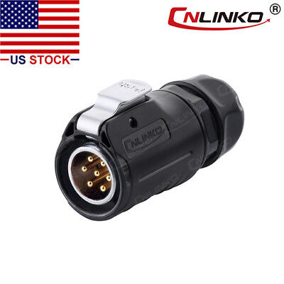 CNLINKO 7 Pin Power Signal Industrial Connector Male Plug Waterproof IP67