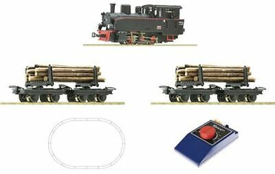 Roco 31030 - H0e/009 0-6-0 Steam Locomotive & Log Trucks Train Set  - T48 Post