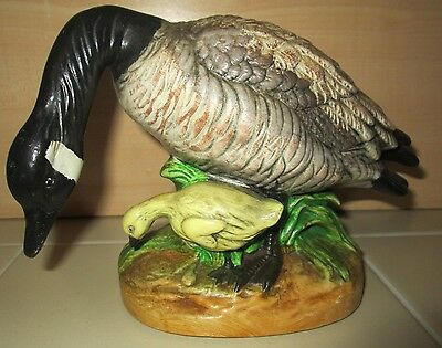 1976 Vintage Canadian Goose w/ Chick Hand Painted Ceramic Bird Statue Figure