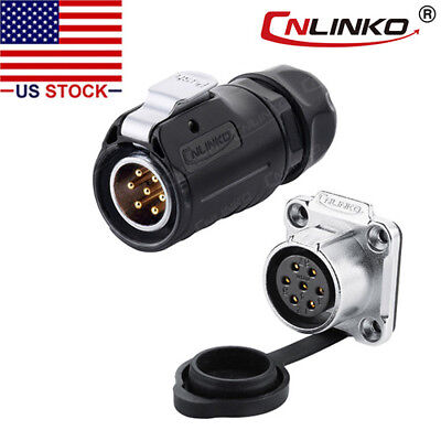 7 Pin Power Signal Connector Male Plug & Female Socket Outdoor Waterproof IP67