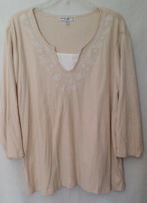 5c0ef9ec73beb Rebecca Malone Woman s Plus Size 1X Knit Blouse Embroidered Top 3 4 Sleeve
