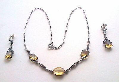 Antique Sterling Silver Art Deco Open Back Citrine & Marcasite Necklace & Earrin