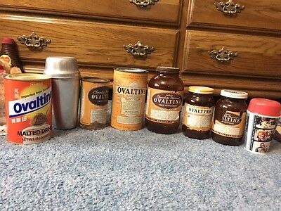 Set of 8 Vintage Ovaltine containers