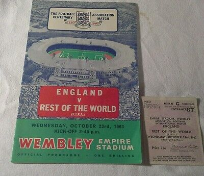 England V Rest Of The World Original Programme & Ticket Excellent Condition +