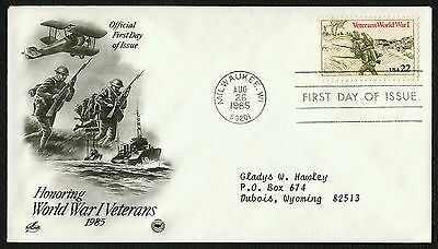 #2154 22c Veterans World War I, Art Craft-PCS Add. FDC **ANY 4=FREE SHIPPING**