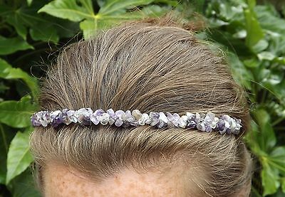 Amethyst Crystal Head Piece Band Hair Tiara Crown Wedding Bridal Boho Prom