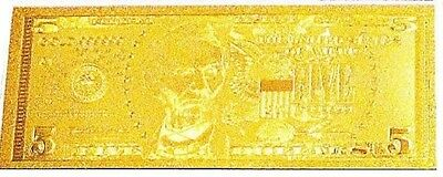 One .999 Gold Leaf $5.00 bill and Million dollar Liberty Novelty notes