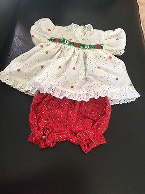 VintageCabbage Patch Strawberry Print Dress & Red Bloomer HTF
