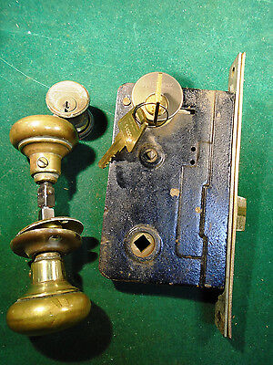 VINTAGE SARGENT ENTRY MORTISE LOCK w/KEYS, KNOBS, ESCUTCHEONS, NICE!  (8852)