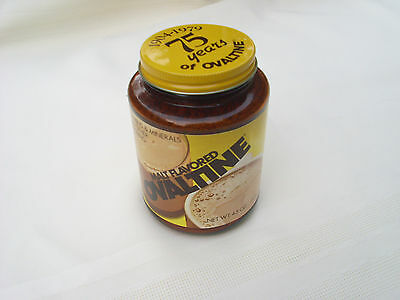 NEW Vtg 70's UNOPENED 75 YEARS OF OVALTINE ANNIVERSARY AMBER GLASS JAR MINT