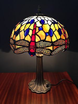"""A Gorgeous Tiffany Style Dragonfly Table Lamp With A 12"""" Diameter Shade"""