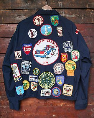 VTG 70s PENNEYS TOWNCRAFT 60+ CAMPING STATE PATCHES WINDBREAKER JACKET LARGE