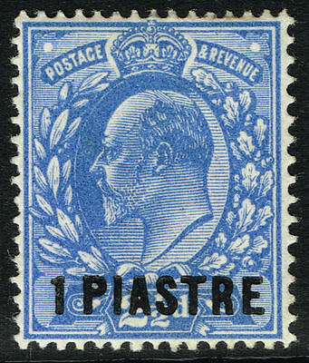 SG 27 BRITISH LEVANT1912 - 1pi on 2.5d BRIGHT BLUE (type 8 opt.) - MOUNTED MINT