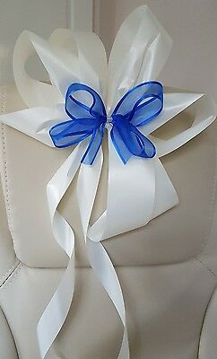 Wedding Church Party Event Bows in Ivory & Blue x 10 Great Decorations....🌹