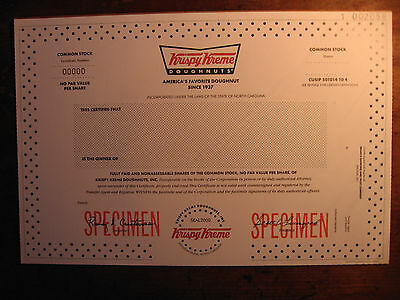Krispy Kreme SPECIMEN Stock Certificate(Bought Out)No More KKD Donut Collectable