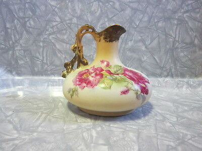 Vintage Porcelain Pitcher / Ewer Hand Painted Roses with Gold Trim