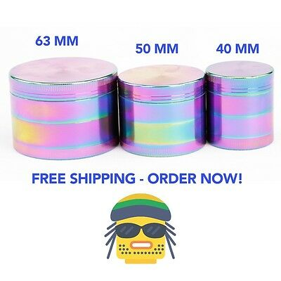 New 63mm 3 Layer Zinc Alloy Rainbow Tobacco Mill Spice Herb Grinder Gift Smoke