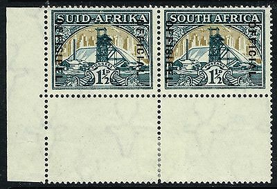 SG O22b SOUTH AFRICA 1941 OFFICIAL - 1.5d BLUE-GREEN & DULL GOLD - MOUNTED MINT