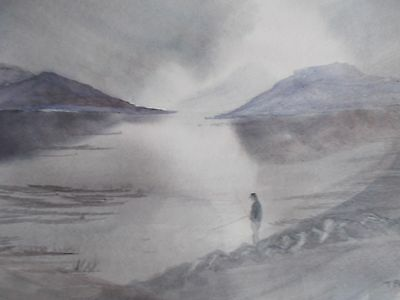 Time to think original watercolour painting of a angler by a scottish loch
