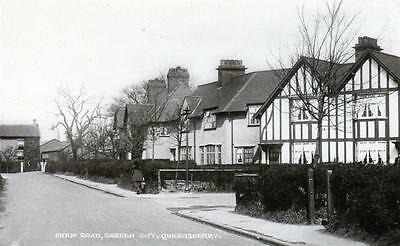 Queensferry Farm Road Garden City Nr Chester sepia used RP old postcard J Gould