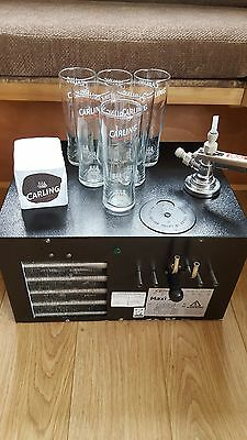 Carling beer pump/ maxi 210 beer cooler carling glasses and matts keg fitting.