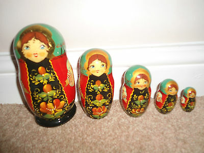 Russian Hand Painted 5 Nesting Dolls - Signed