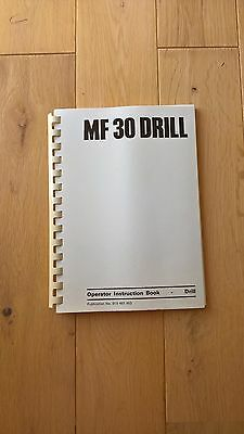 Massey Ferguson MF 30 Drill Operator Instruction Book