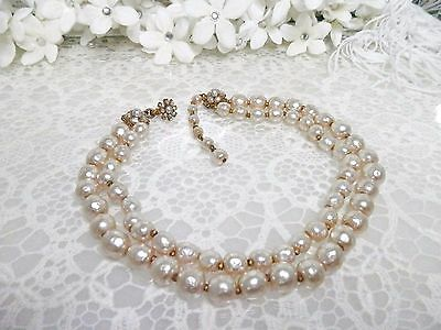 Beautiful Classic Miriam Haskell 2 Strand Baroque Pearl Necklace
