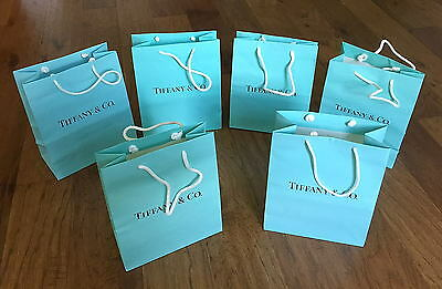 Lot 6 Authentic Tiffany & Co. Blue Shopping Gift Paper Bags 10x8x4 Gently Used